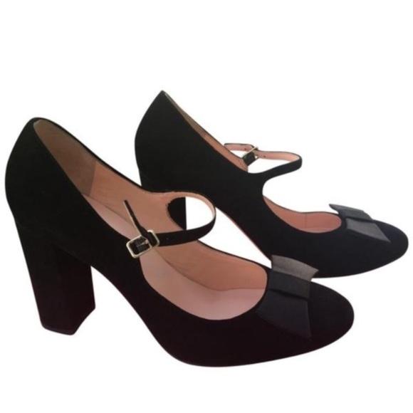 98fba57034e4 Kate Spade Berie Black Suede Bow Mary Janes 8
